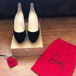 BLACK SUEDE LOUBOUTINS WORN ONLY ONCE